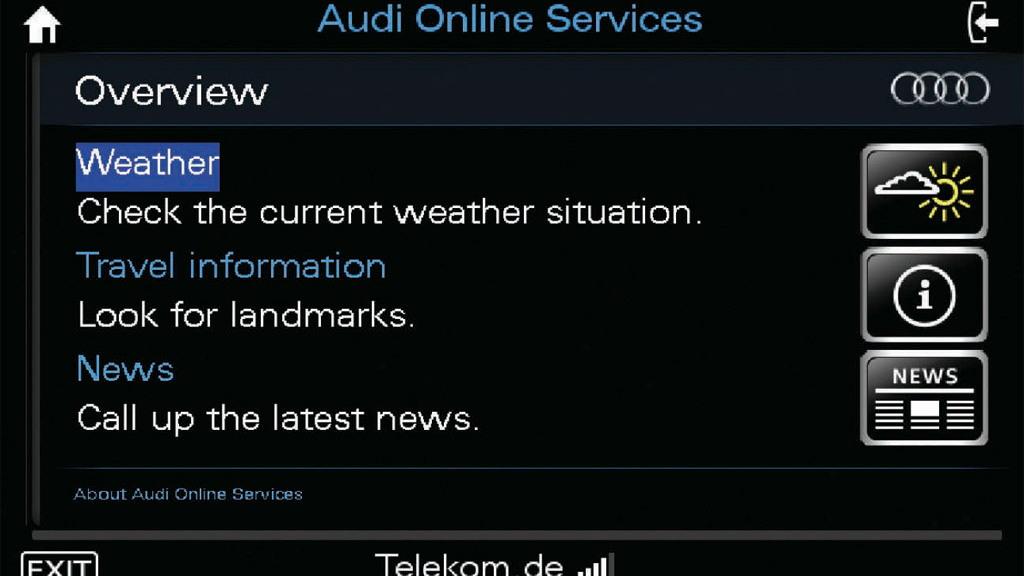 Audi Connect internet services