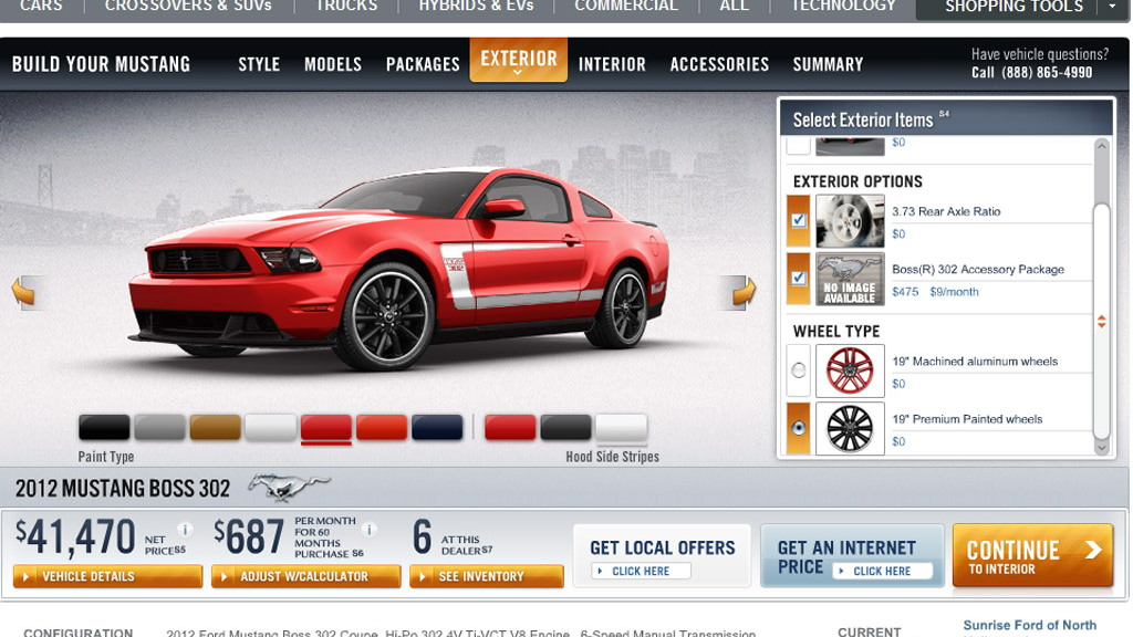 2012 Ford Mustang Boss 302 configurator