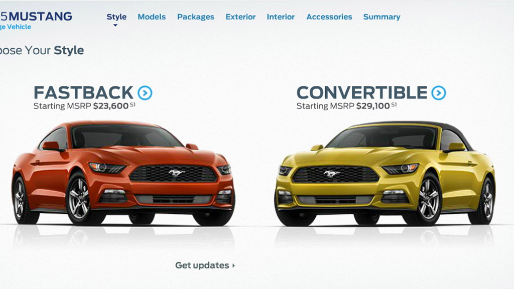 Build your perfect 2015 Ford Mustang with online configurator