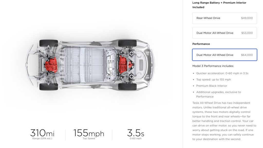 Tesla Model 3 order configurator 6/18 Dual Motor, Performance options [Image via Teslarati]