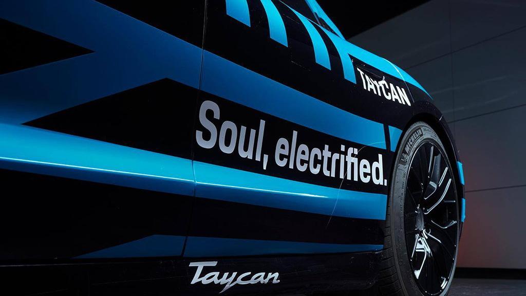 Teaser for Porsche Taycan debuting in September 2019