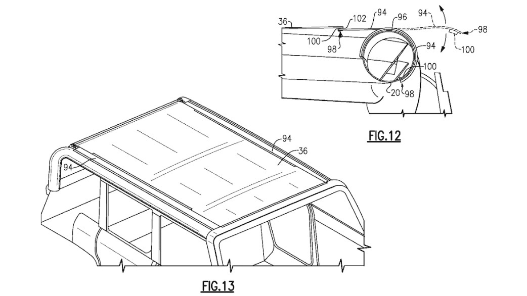 Potential 2021 Ford Bronco removable roof patent