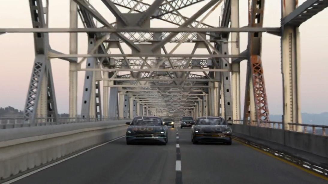 Lucid Air range test video  -  Richmond San Rafael Bridge
