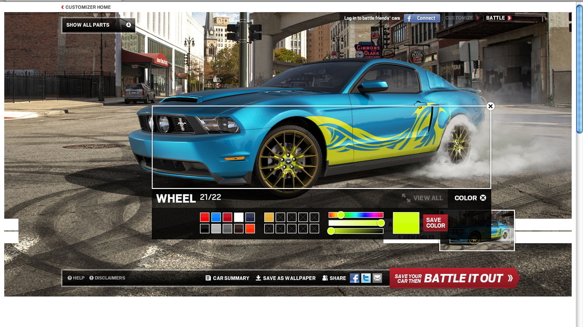 2013 Ford Mustang Customizer App