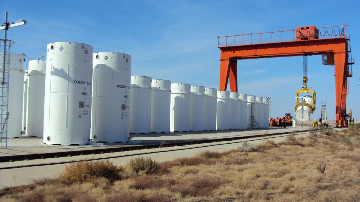 Containers holding spent nucleat fuel [Nuclear Regulatory Commission photo]