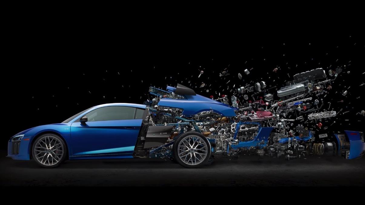 Audi R8 disintegrating artwork