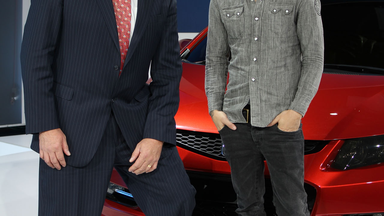 John Mendel from Honda with Pete Wentz at the 2011 Detroit Auto Show