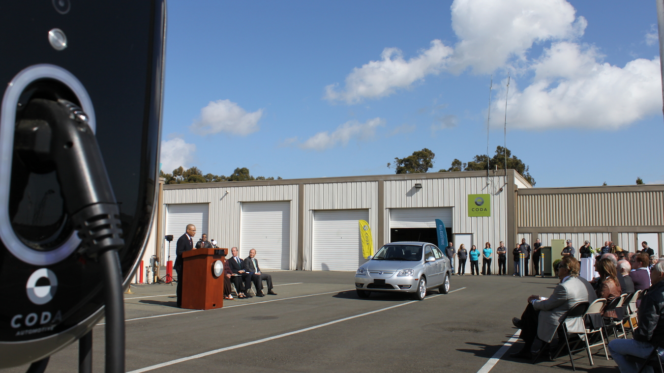 First 2012 Coda Sedan customer car emerges from Benicia, CA, assembly plant, March 2012