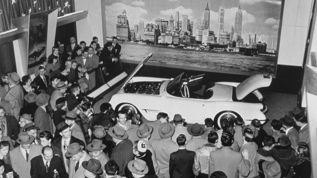 The Corvette concept debuts at the 1953 Motorama exhibit - image: GM Corp