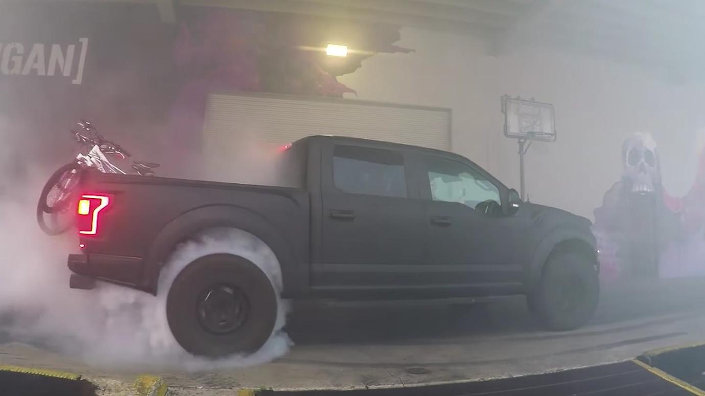 Ken Block burnout in 2018 Ford Raptor