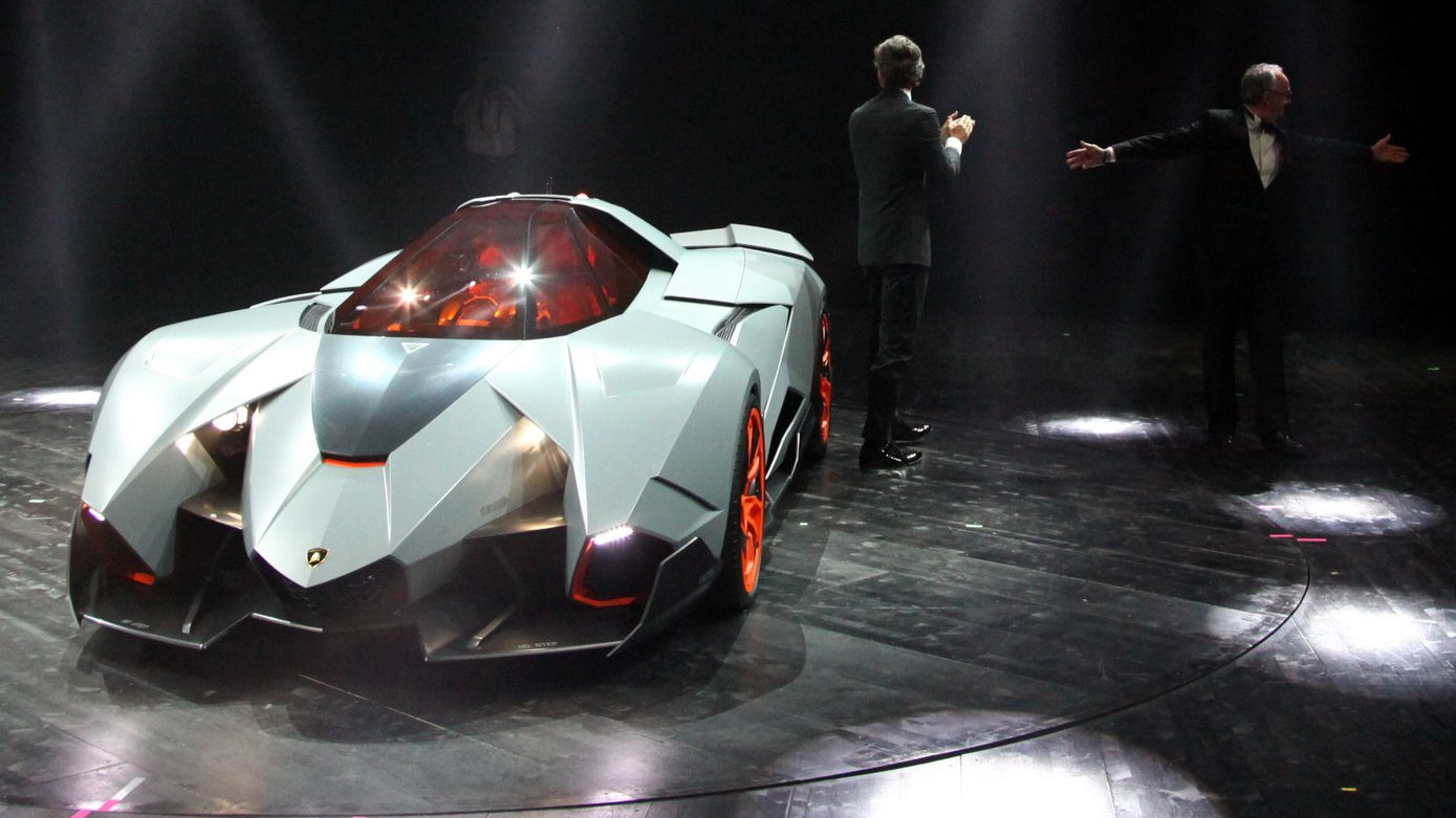 Lamborghini Egoista reveal  -  with Stephan Winkelmann, Walter De Silva, and VW design team