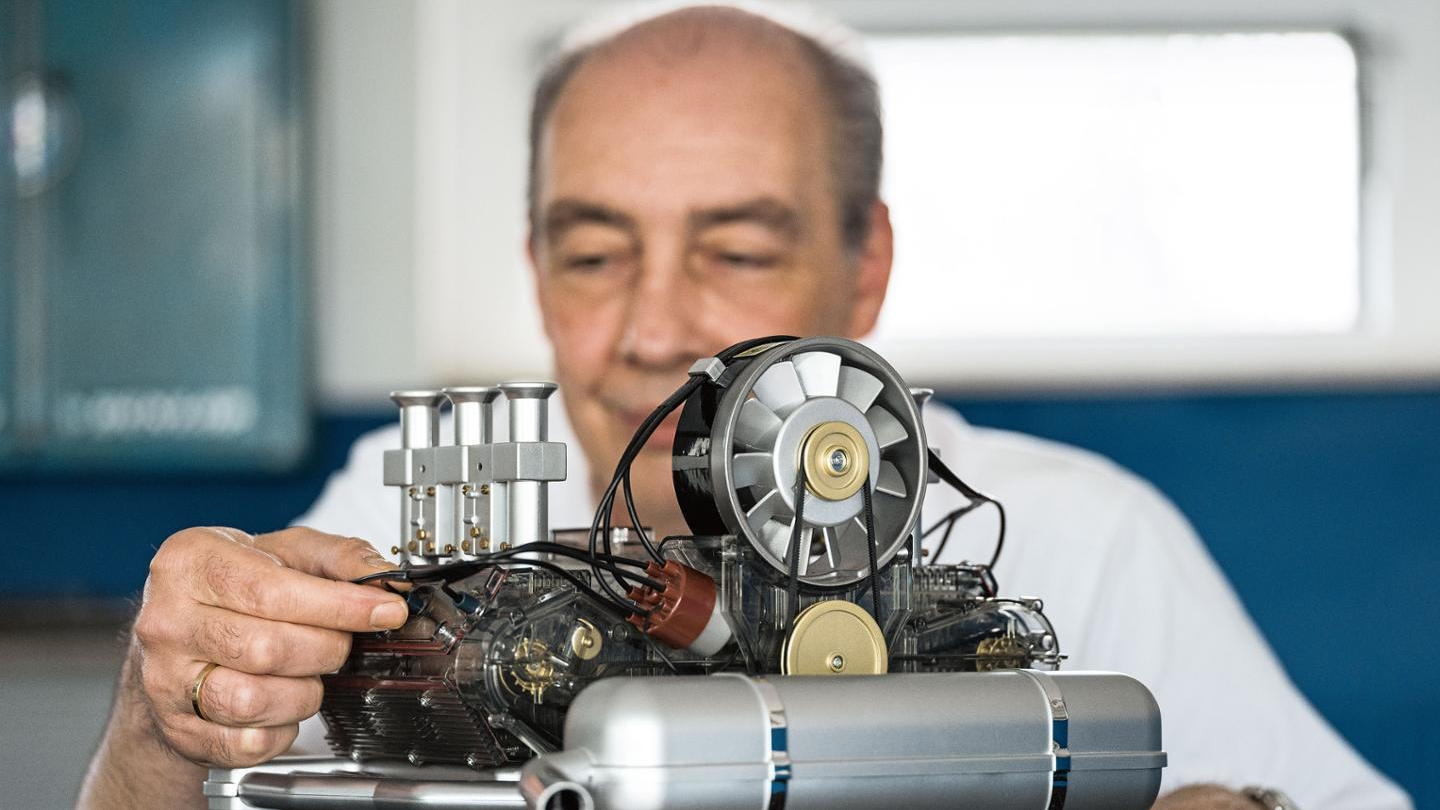 Porsche scale engine model is a museum gift shop bestseller