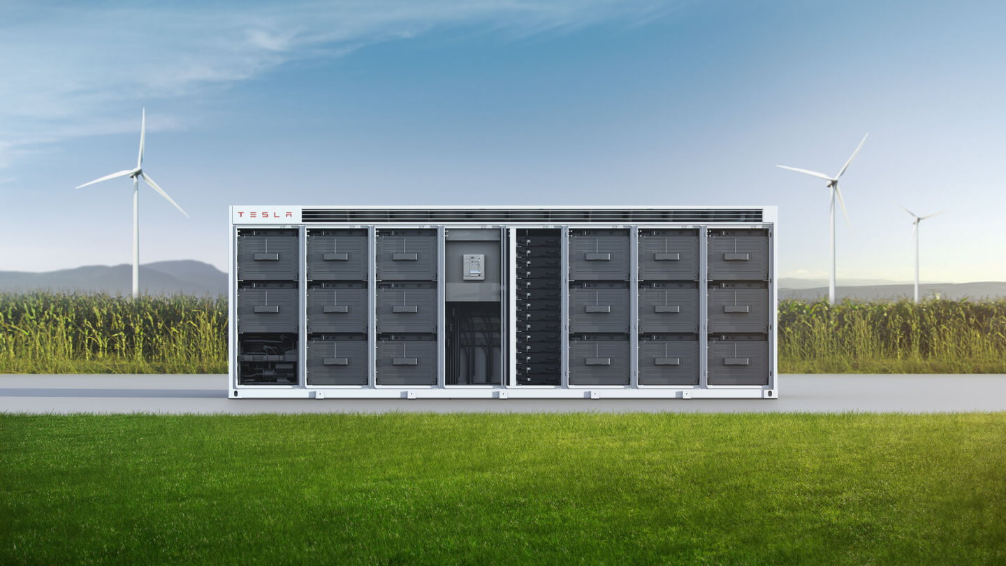 Artist's rendering of Tesla Megapack grid storage installation with wind farm