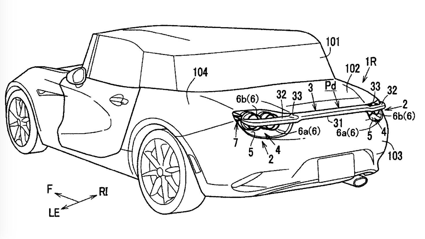 Mazda patent for active rear spoiler design