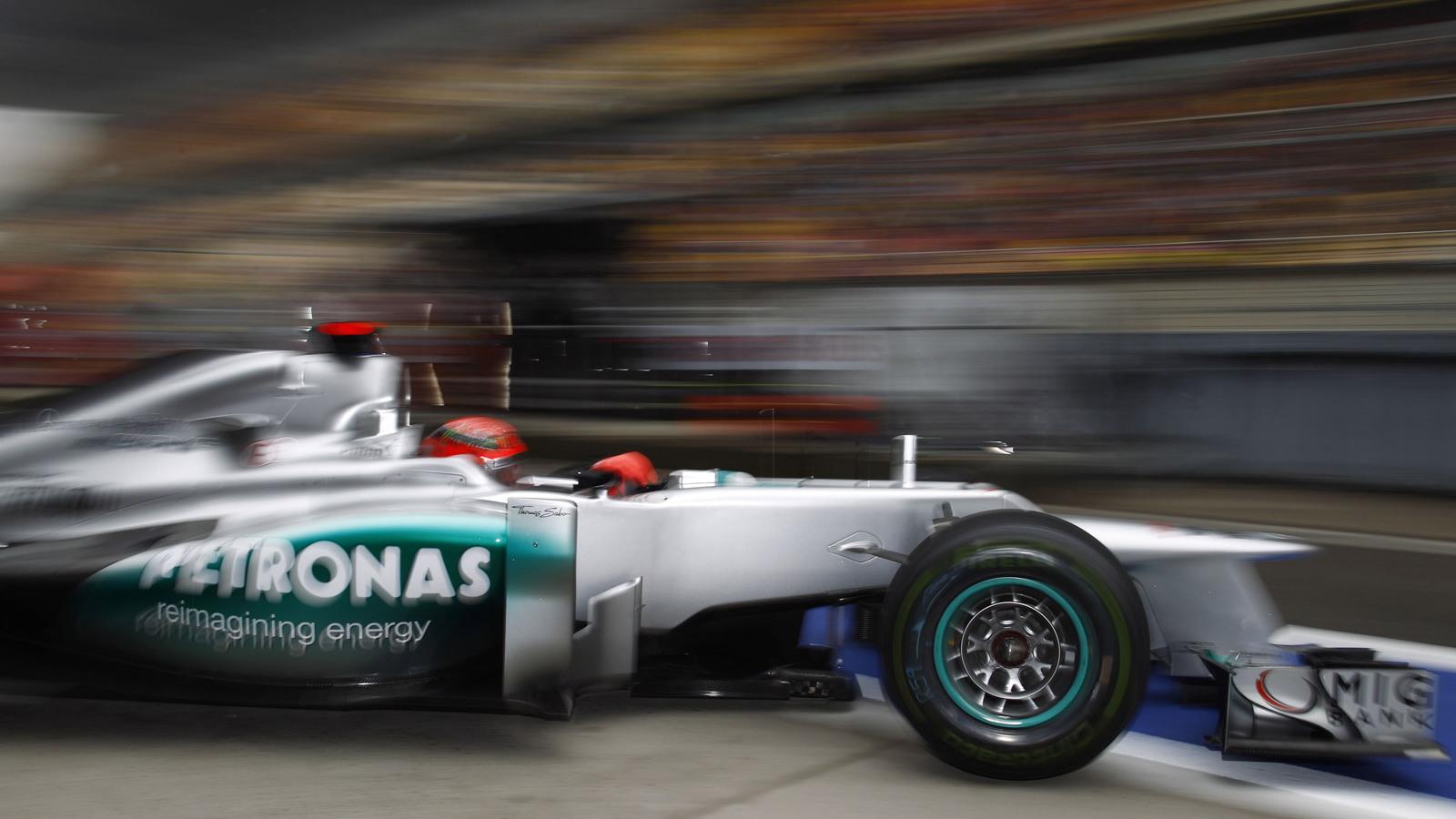 Michael Schumacher in his 2012 Mercedes AMG Formula 1 car