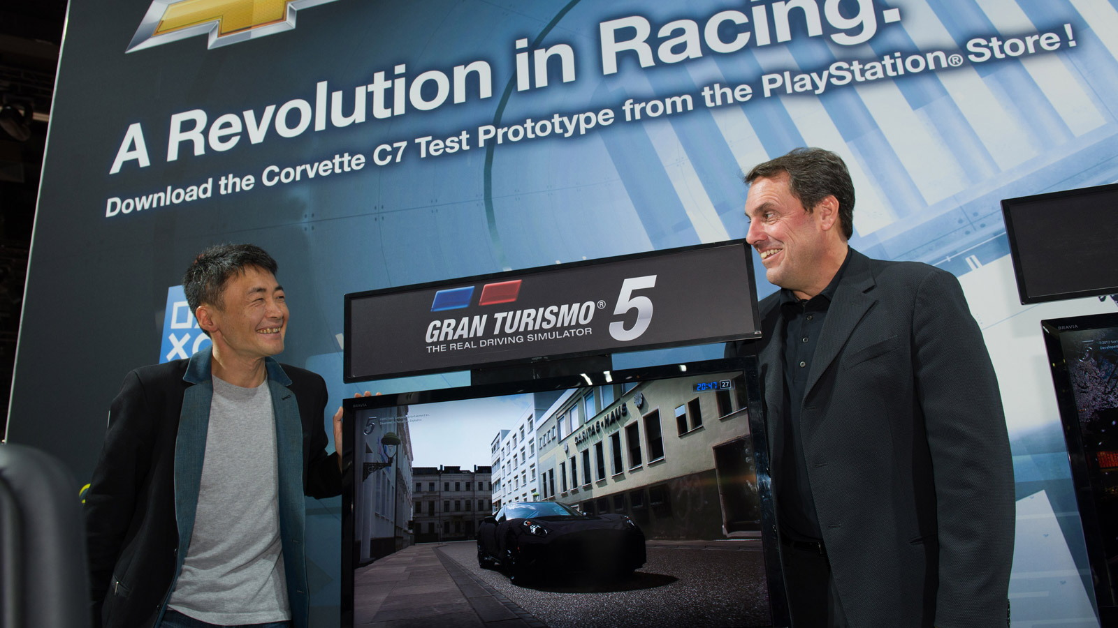 Gran Turismo creator Kazunori Yamauchi and GM North American president Mark Reuss