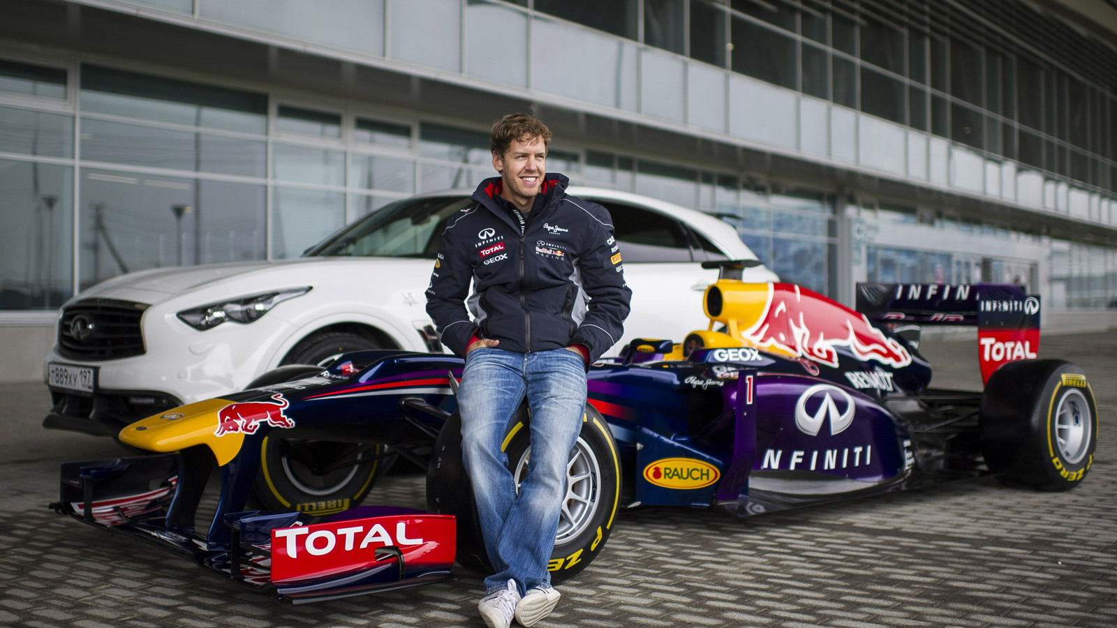 Sebastian Vettel at the Sochi Olympic Park Circuit in Sochi, Russia