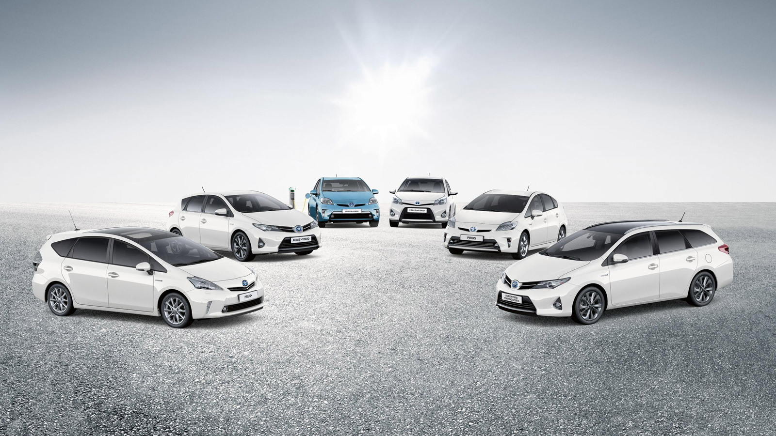 Array of Toyota hybrid vehicles