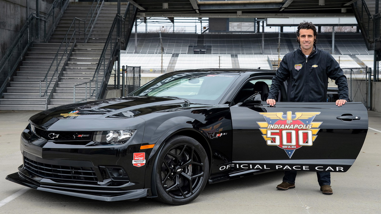 Dario Franchitti and the 2014 Chevrolet Camaro Z/28 Indy 500 pace car