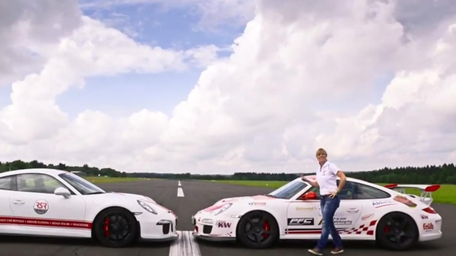 Sabine Schmitz and a pair of Porsche 911 GT3s