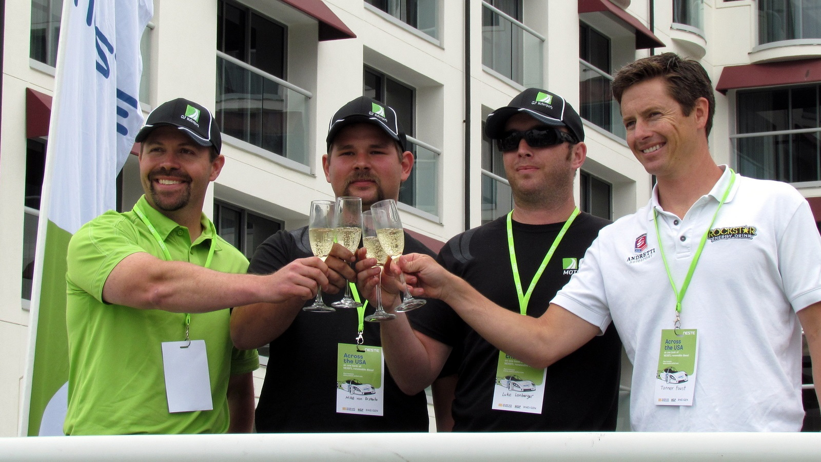 Pat O'Keefe, Michael von Disterlo and Luke Lonberger from CLP Motorsports celebrate w/Tanner Foust