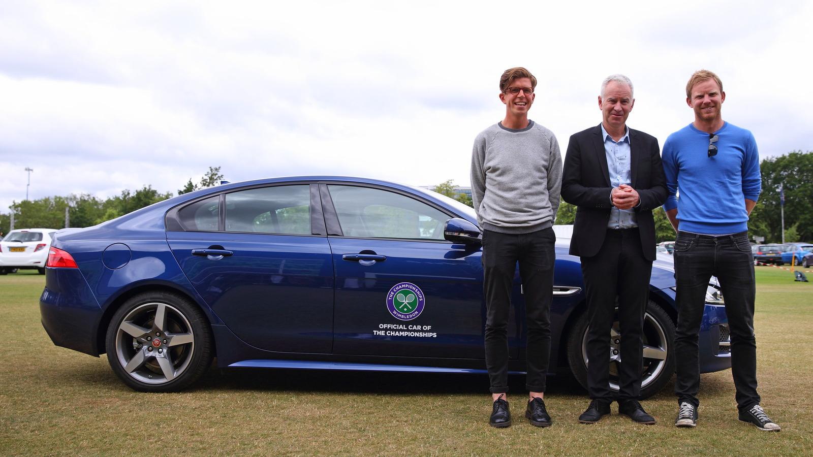 John McEnroe drives the new Jaguar XE at Wimbeldon