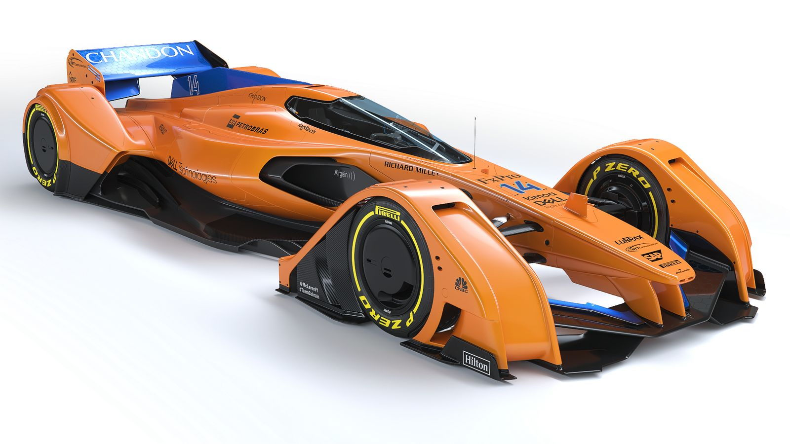 McLaren X2 concept race car with new papaya livery