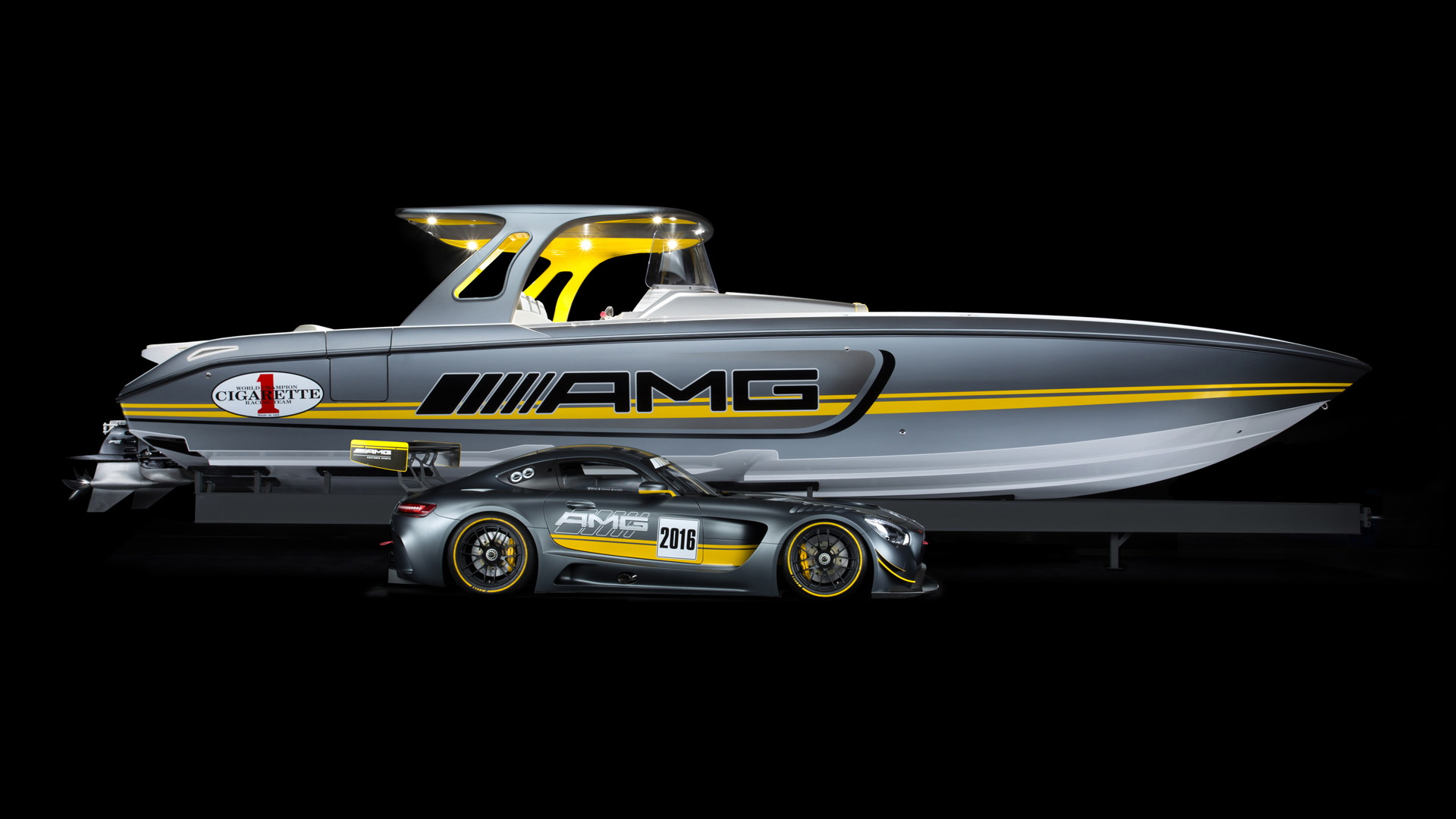 Cigarette Racing 41' SD GT3 boat and 2016 Mercedes-AMG GT3 race car