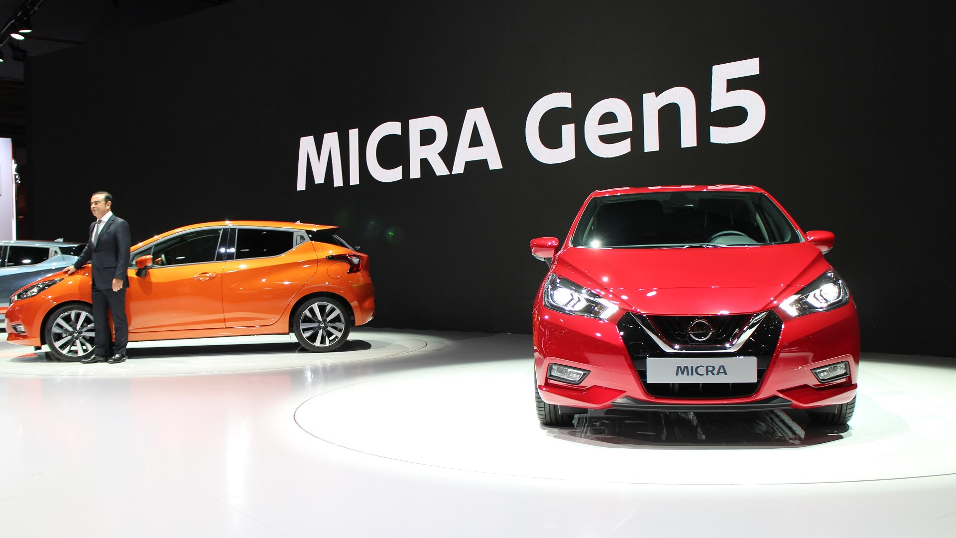 Nissan CEO Carlos Ghosn presents fifth-generation Nissan Micra at launch, 2016 Paris Motor Show