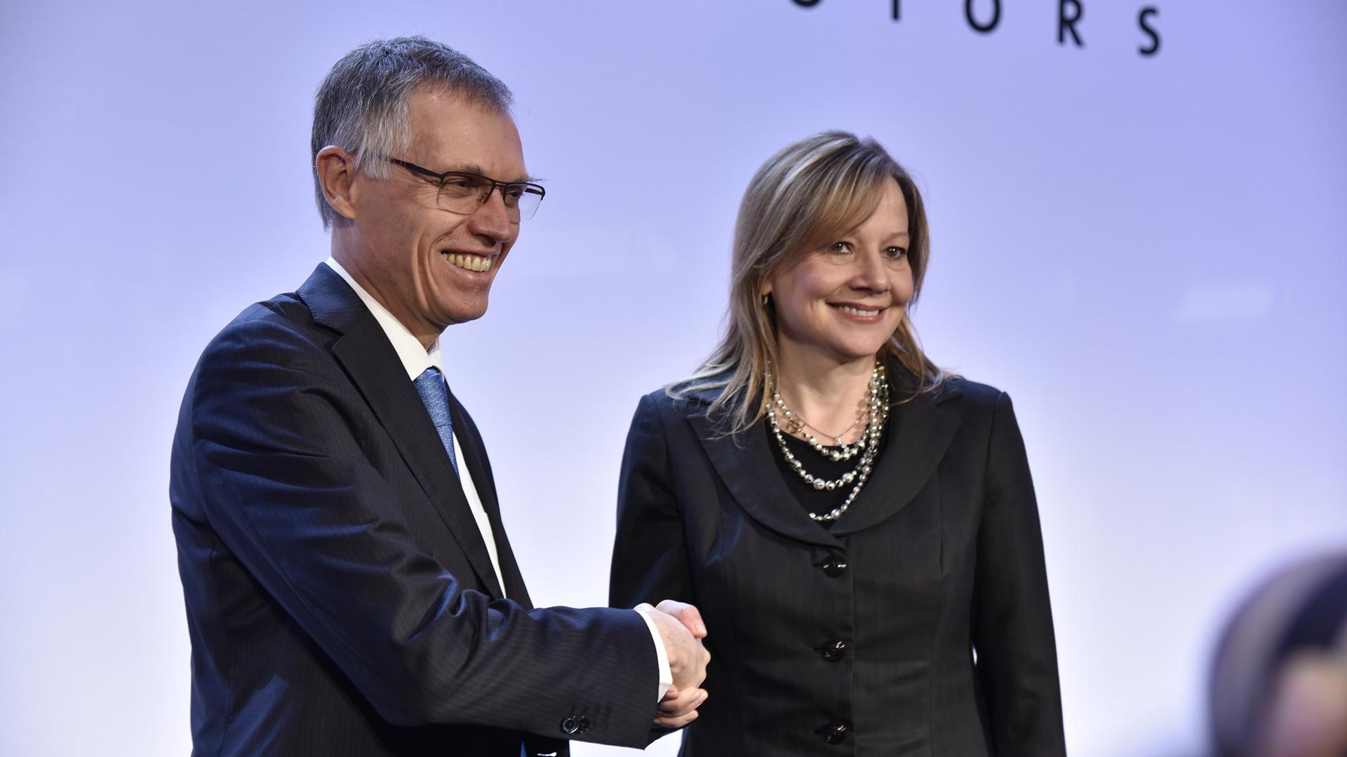 PSA Group CEO Carlos Taveres and GM CEO Mary Barra