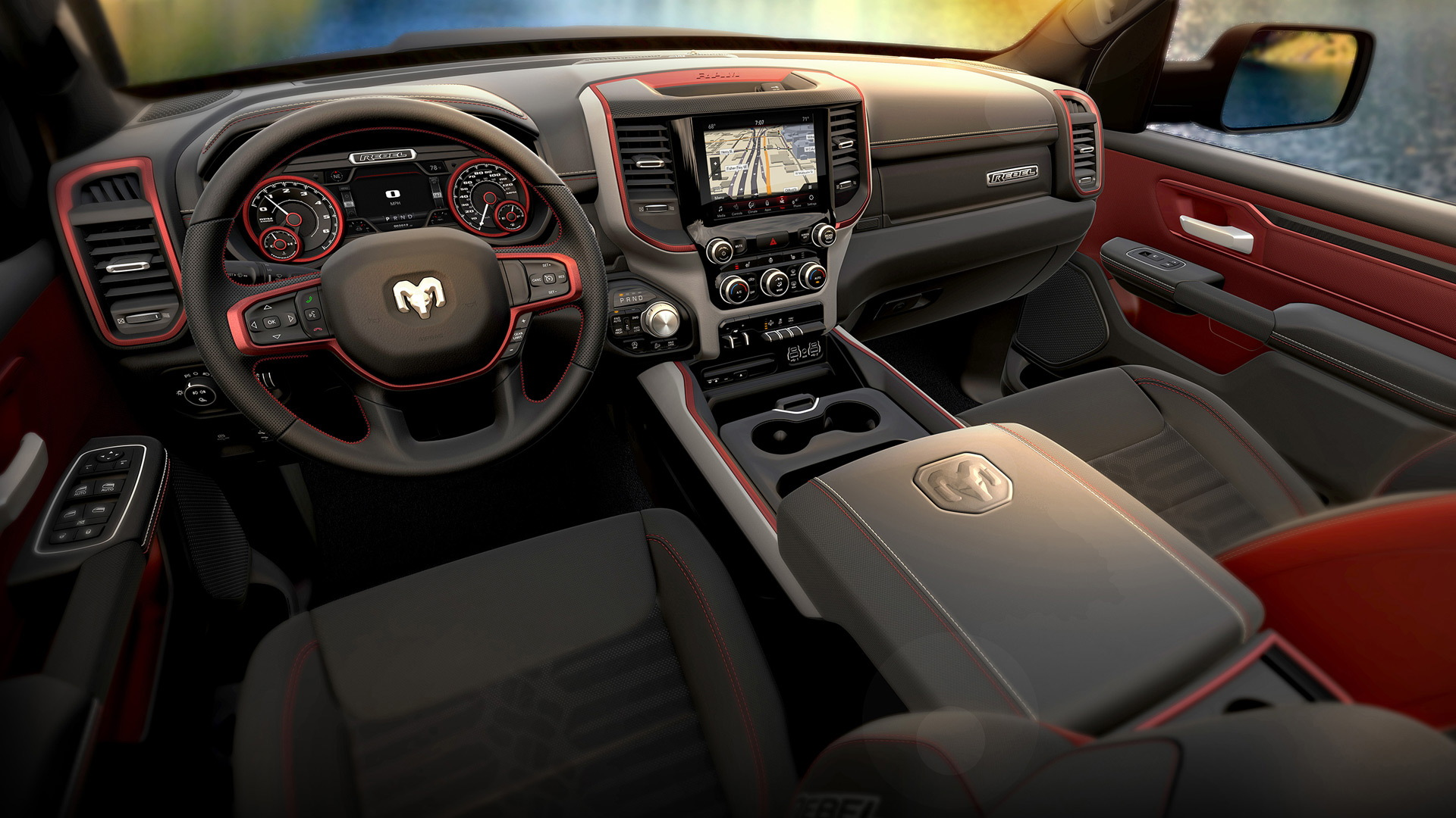 "2019 Ram 1500 Rebel with clock reading ""7:07"""