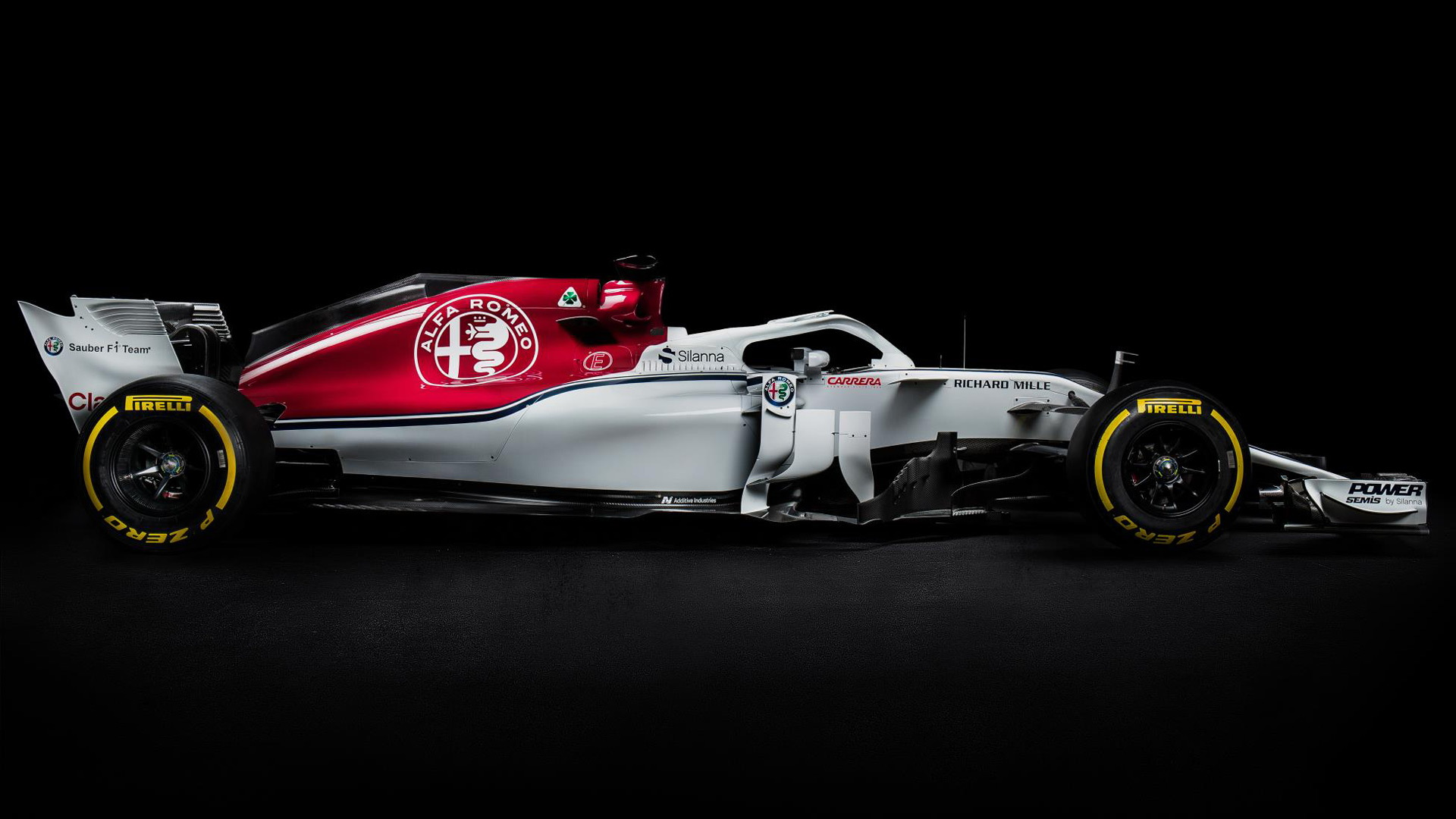 This is the Alfa Romeo-branded 2018 Sauber F1 car