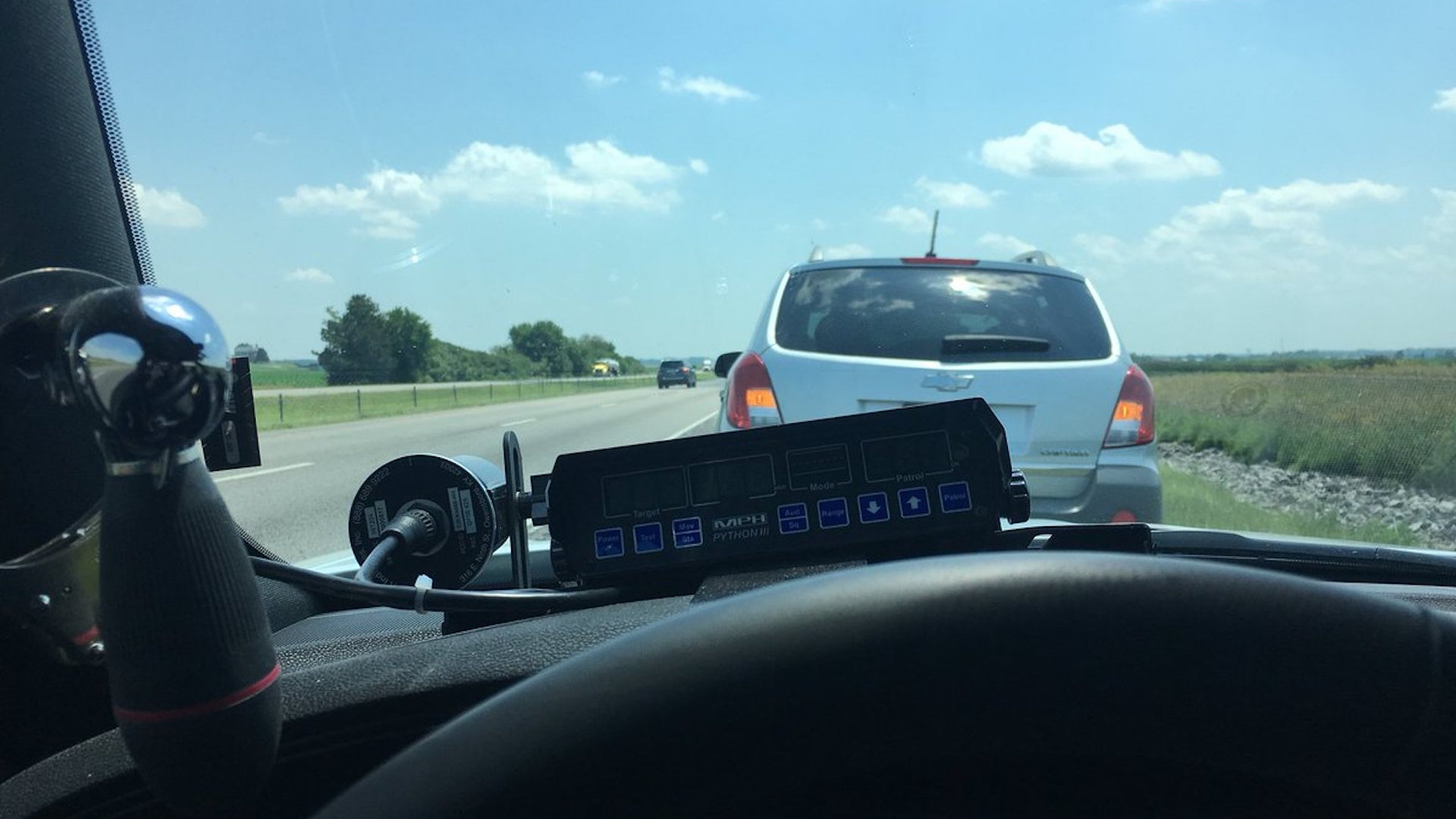 Indiana State Trooper pulls over slow driver Photo: Sgt. Stephen Wheeles