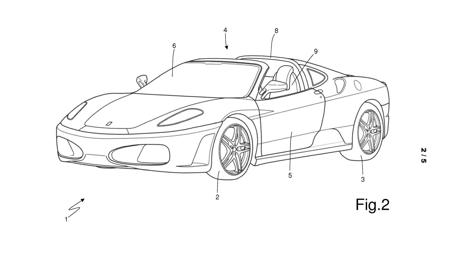 Ferrari patent for car with targa top