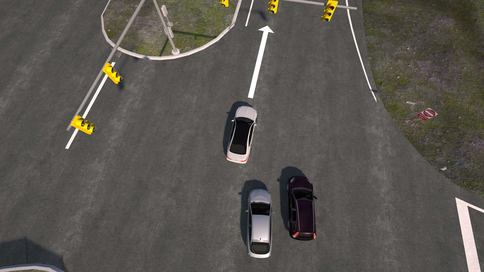 Toyota Research Institute simulation of actual 3-car crash, to test Guardian active-safety system