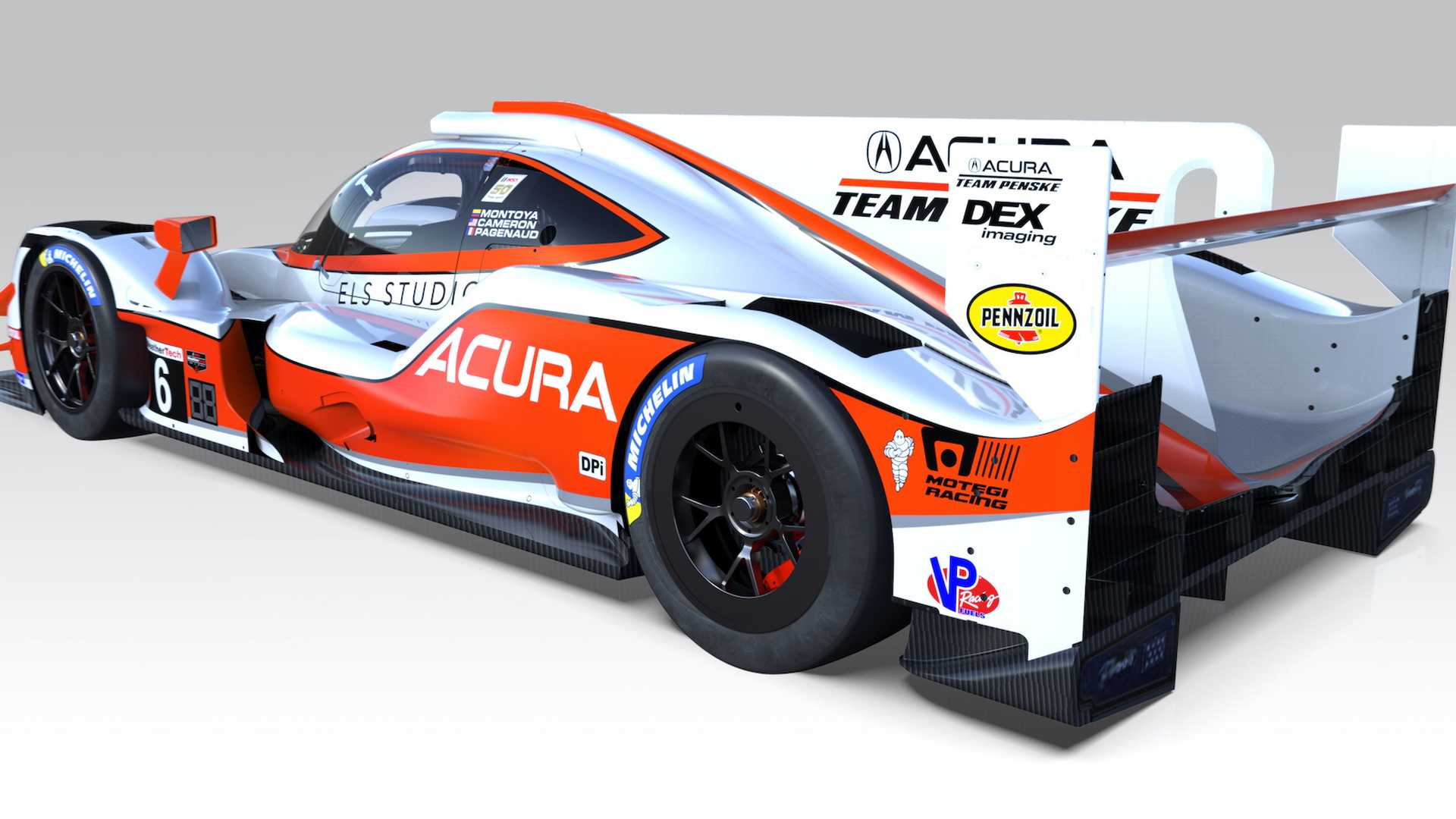 Acura ARX-05 prototype race car with heritage livery, IMSA 2019 season