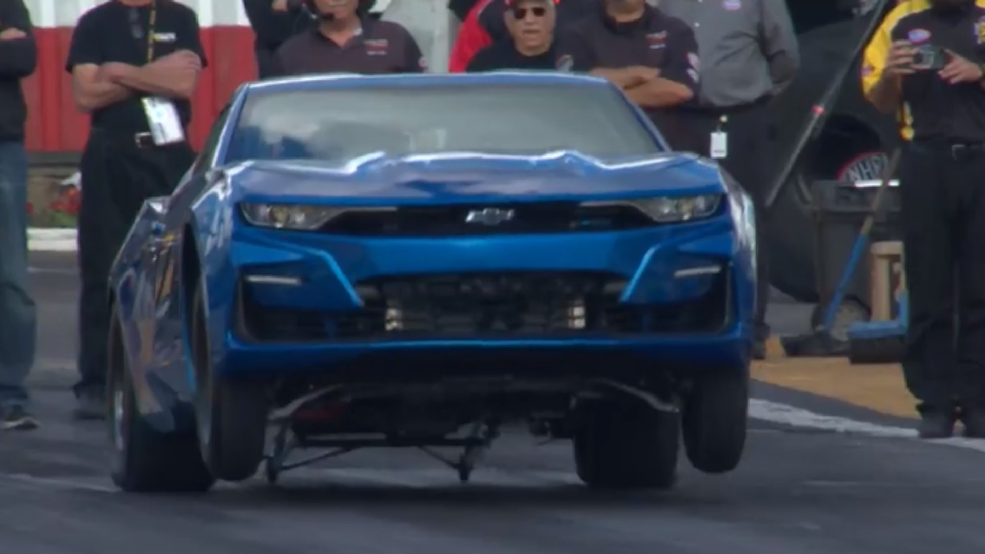 Chevy eCOPO Camaro runs 9s at the drag strip