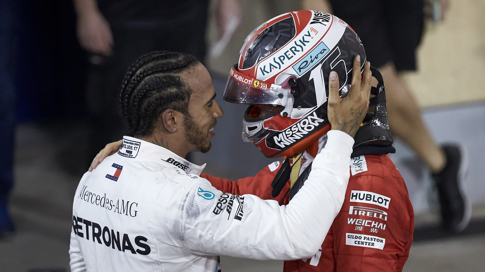 Mercedes-AMG's Lewis Hamilton and Ferrari's Charles Leclerc at the 2019 Formula 1 Bahrain Grand Prix