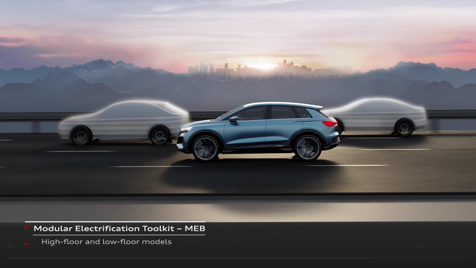 Audi teases future MEB models next to Q4 E-tron