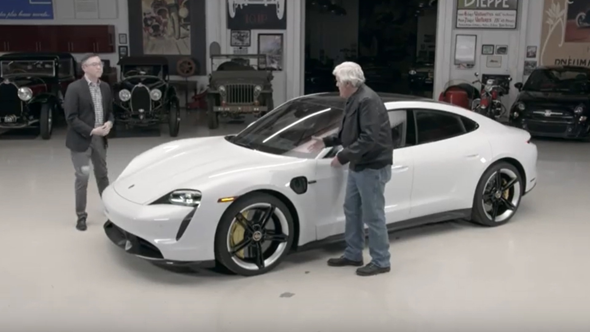 Jay Leno inspects the 2020 Porsche Taycan Turbo S