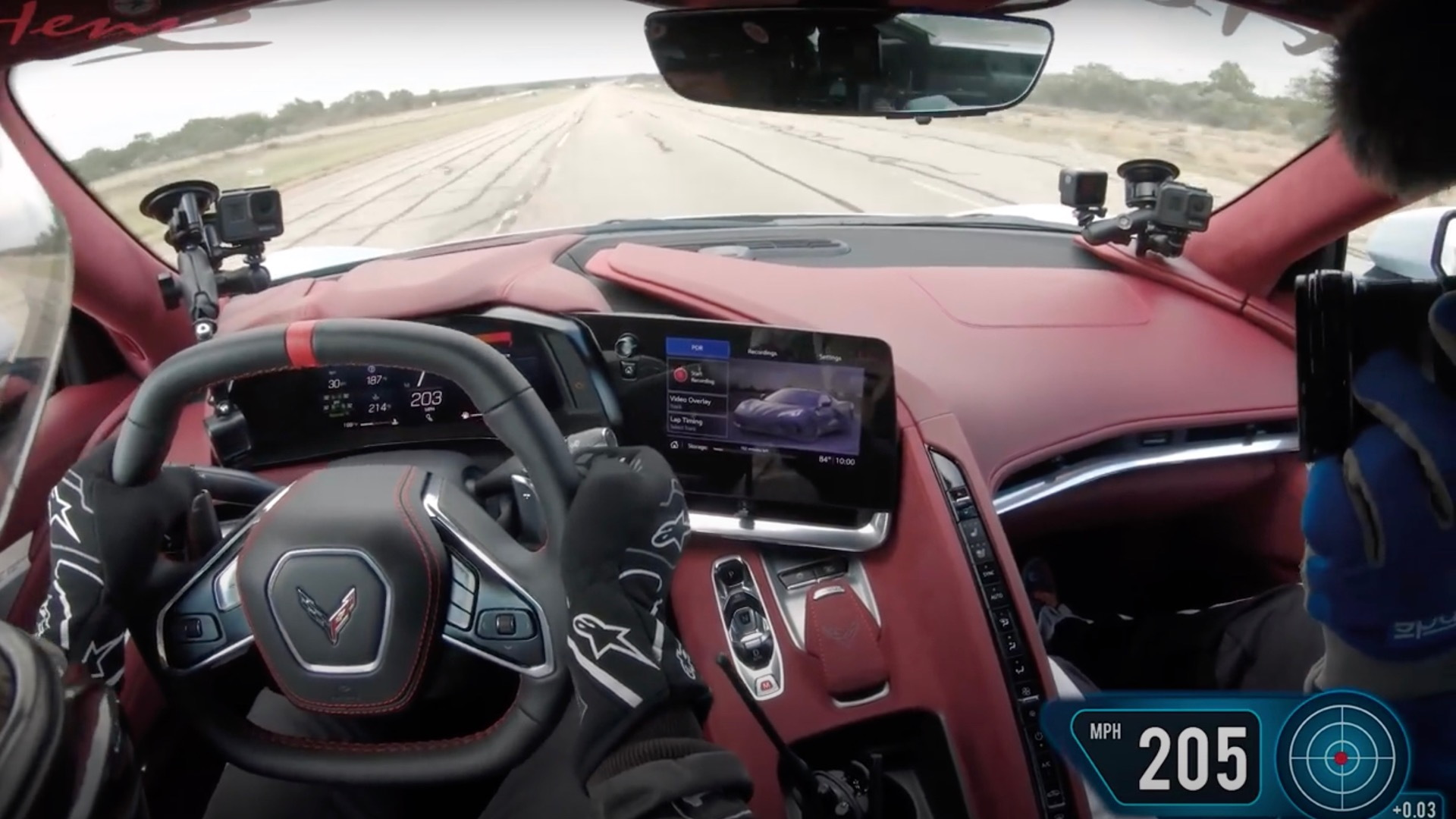 John Heinricy pilots Hennessey Corvette C8 to 205.1 mph (screenshot)