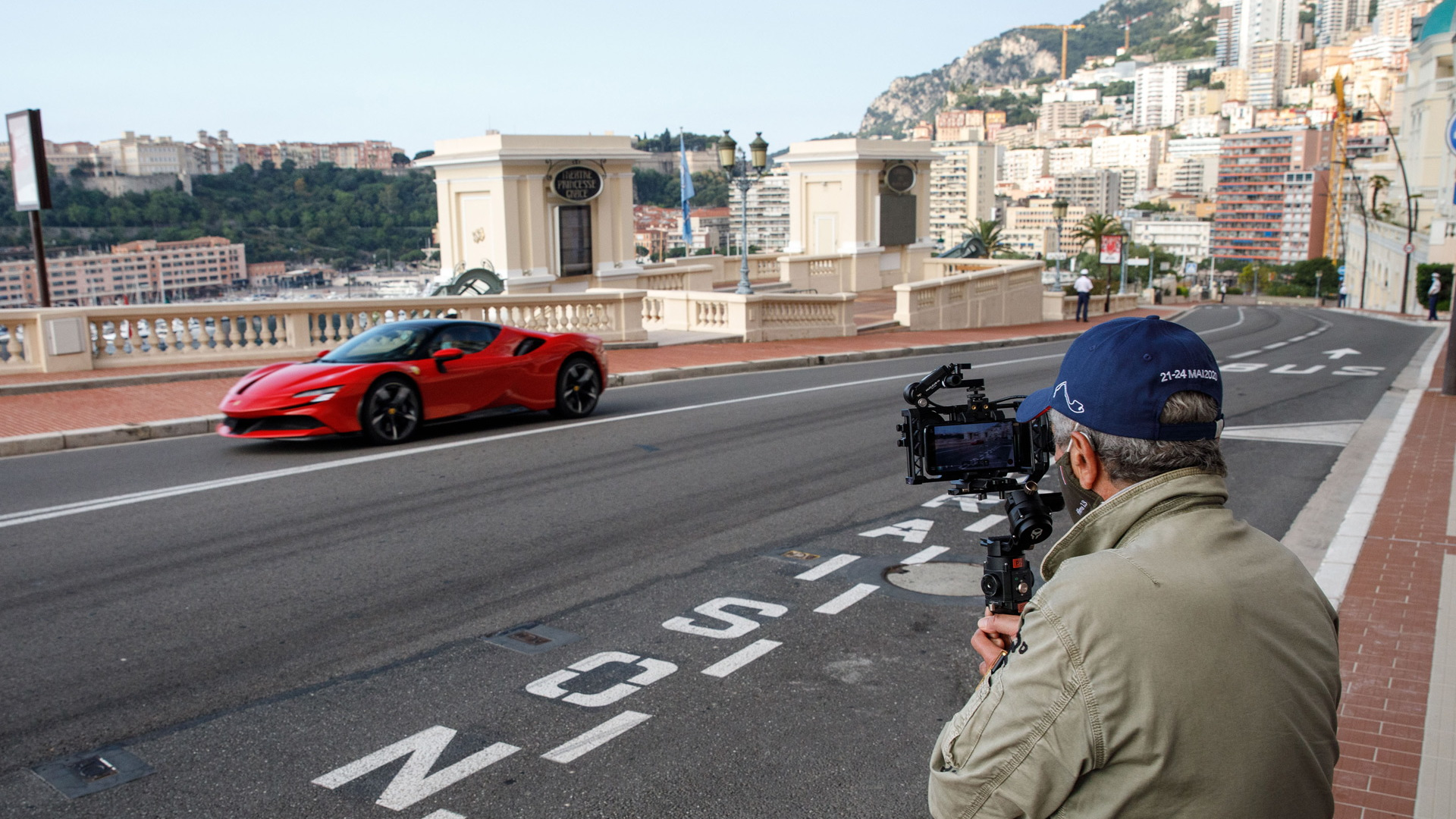 "Ferrari SF90 during filming of ""Le Grand Rendez-Vous"" in Monaco"