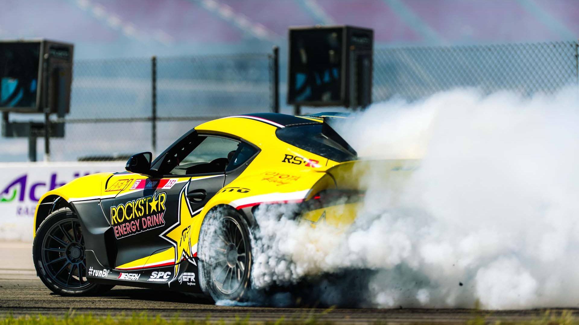 Papadakis Racing Rockstar Energy Drink 2021 Toyota Supra drift car