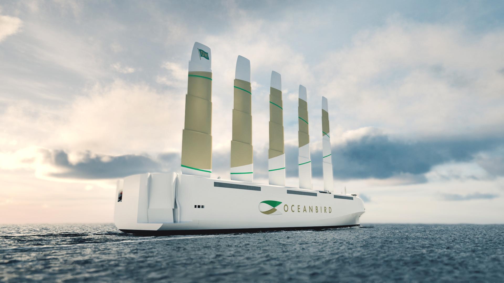 Oceanbird wind-powered car carrier