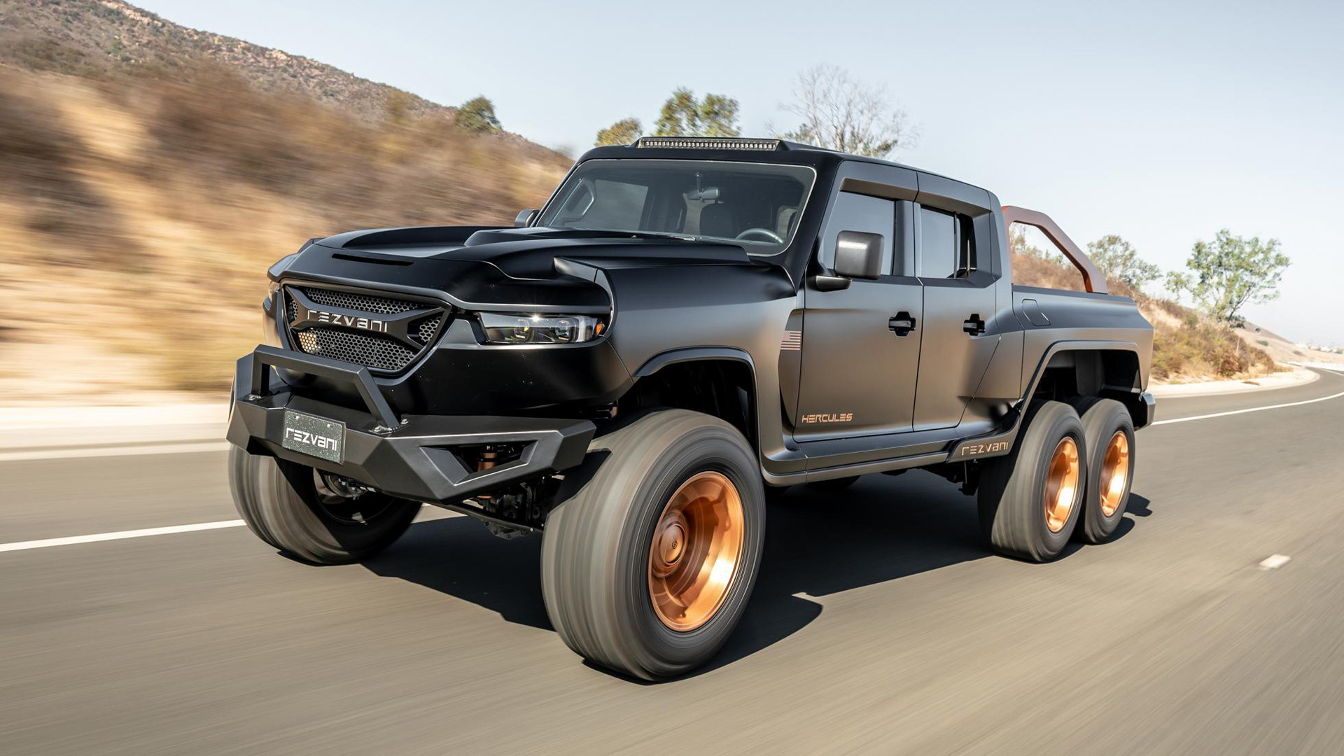 Rezvani Hercules 6x6 Pickup Finally Lands And It S Got A 1 300 Horsepower Demon V 8