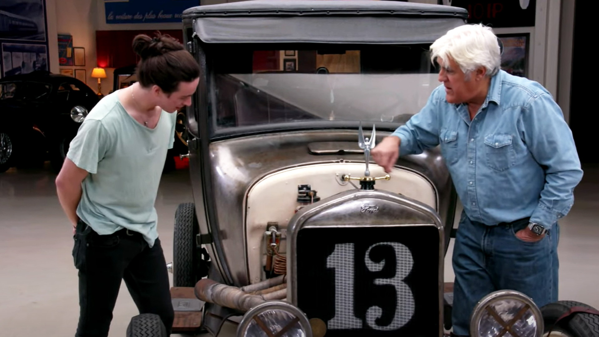 Brandon Fay shows Jay Leno his 1927 Ford Model T - video