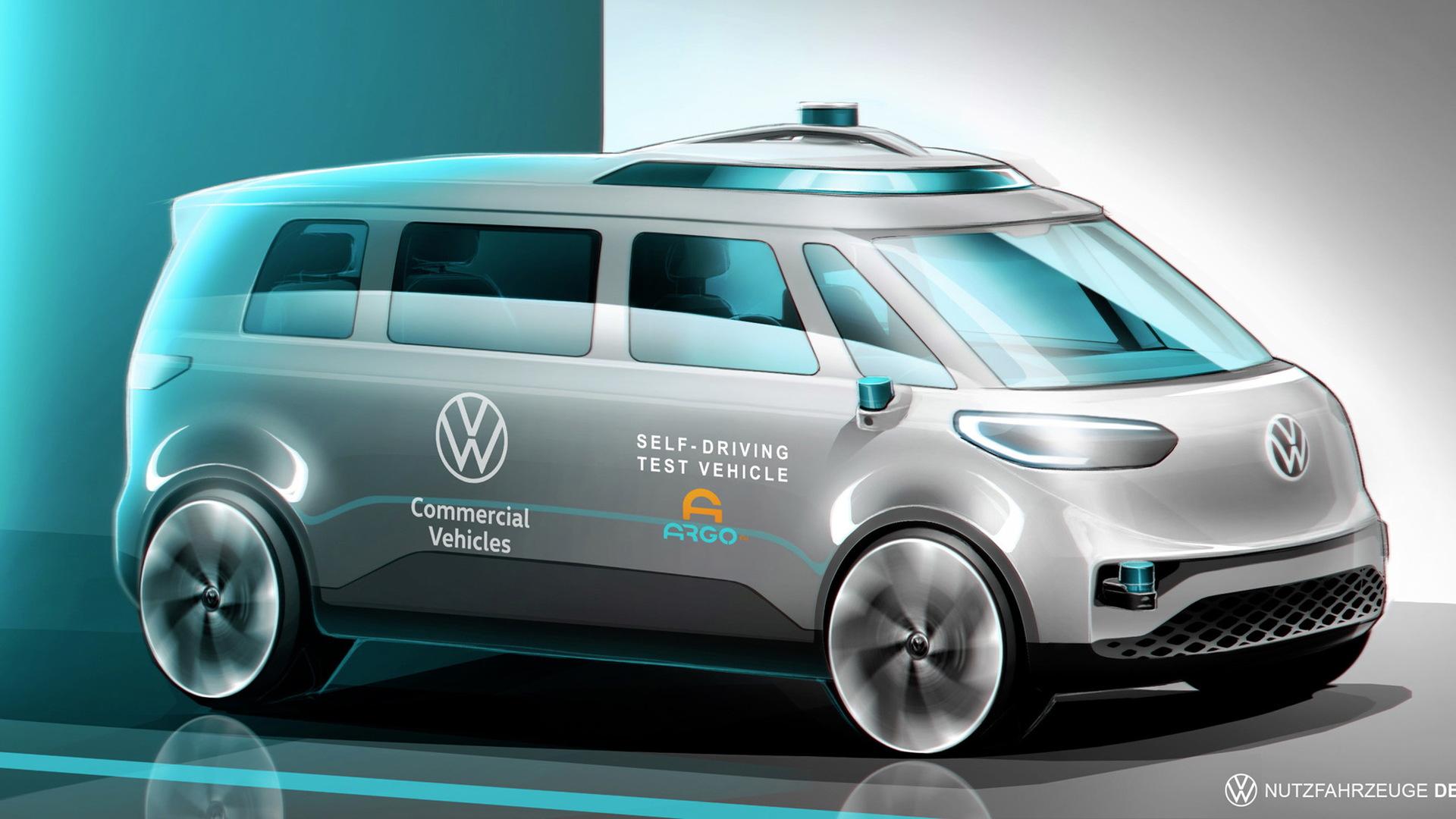 Teaser sketch for self-driving Volkswagen van due in 2025