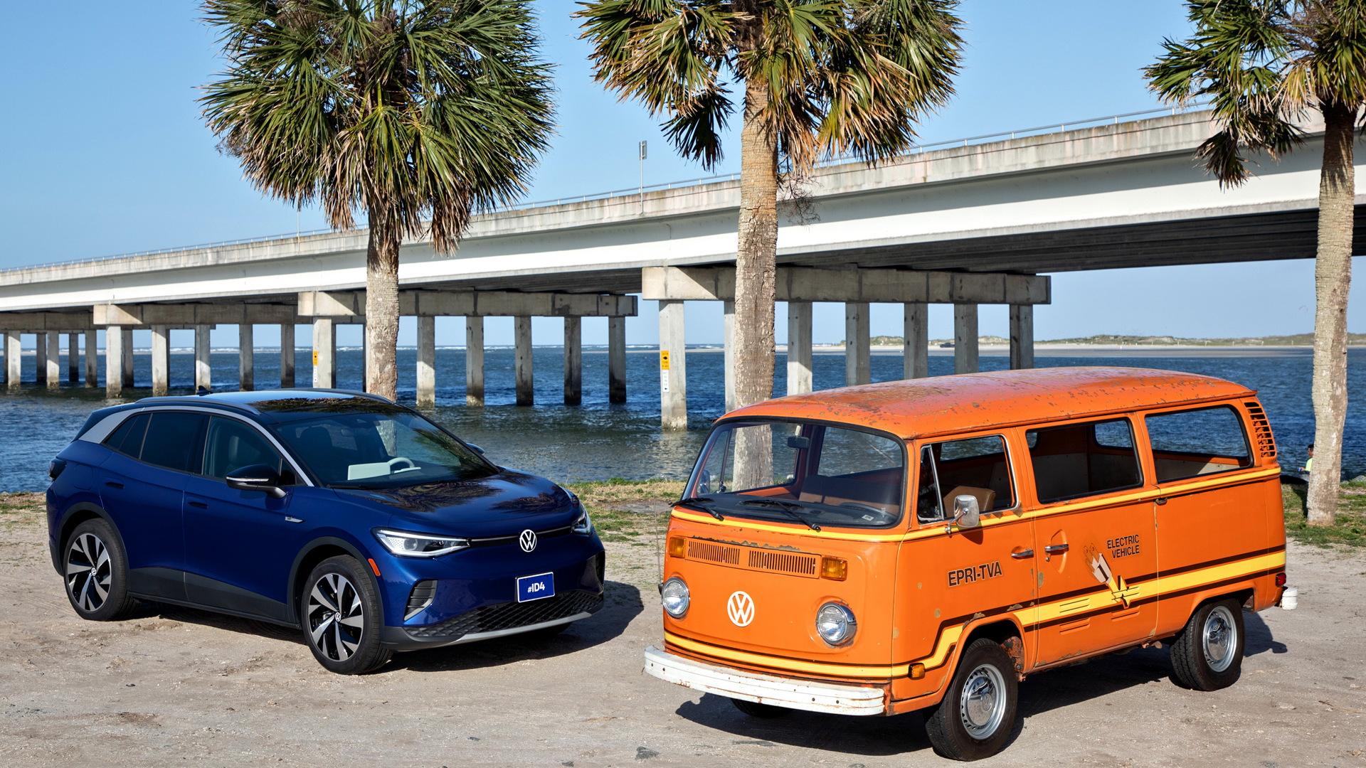2021 Volkswagen ID.4 and 1978 Volkswagen Elektrotransporter prototype