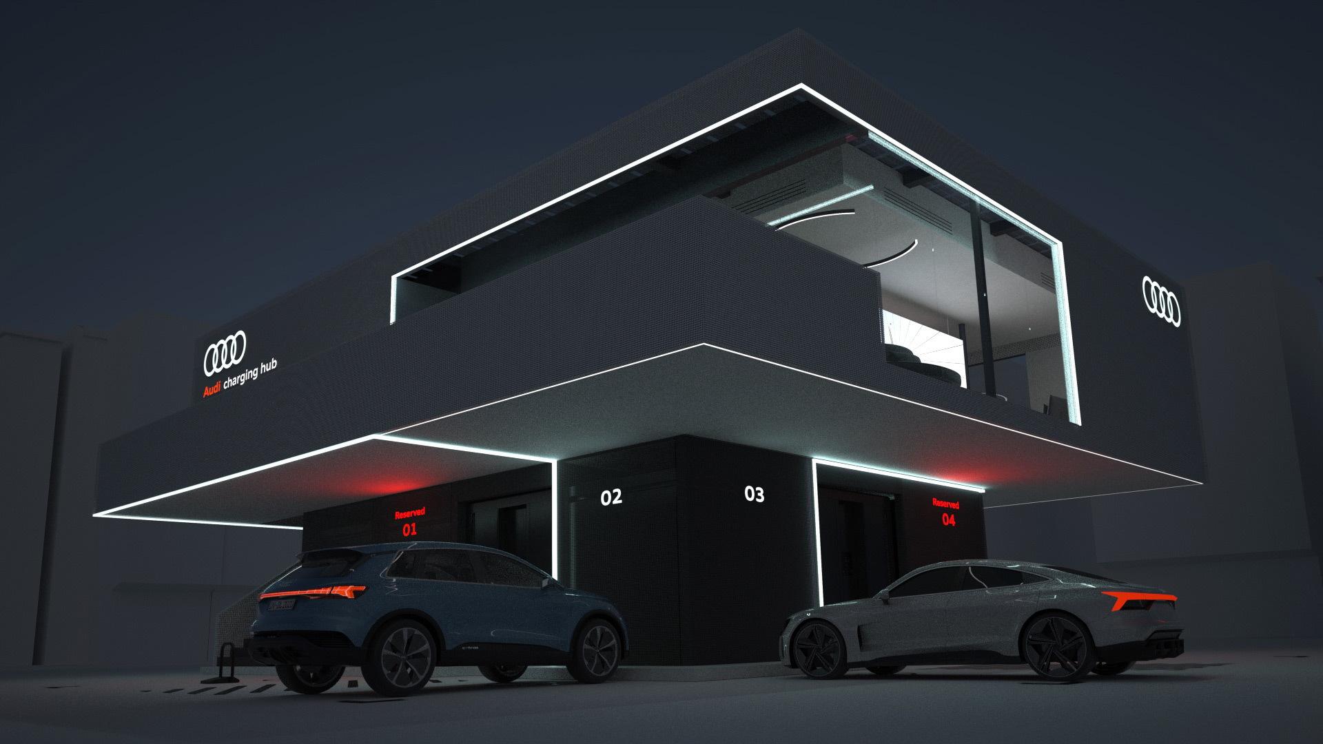 Artist's impression of Audi charging station