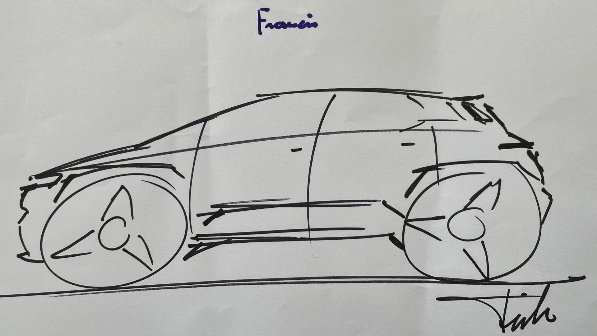 Henrik Fisker sketch signed by Pope Francis